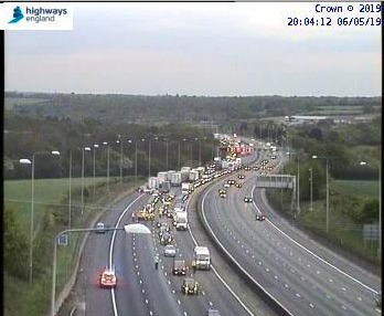Traffic on the M25 J27 and J28 was gridlocked for most of Monday evening