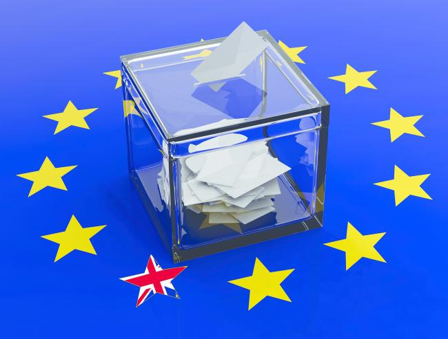 Ballot box on a european union flag background. 3d illustration.