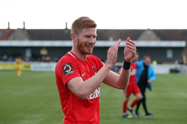Matt Harrold celebrates after the National League game against Sutton United. Picture: Simon O'Connor