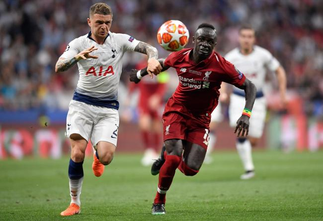 Kieran Trippier challenges Sadio Mane during the Champions League final. Picture: Action Images